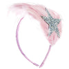 GLITTER SILVER STAR FEATHER PINK HEADBAND
