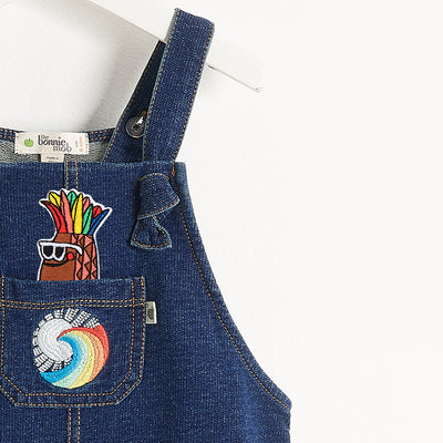 STRETCH DENIM TERRY DUNGAREE KIDS & BADGE PACK