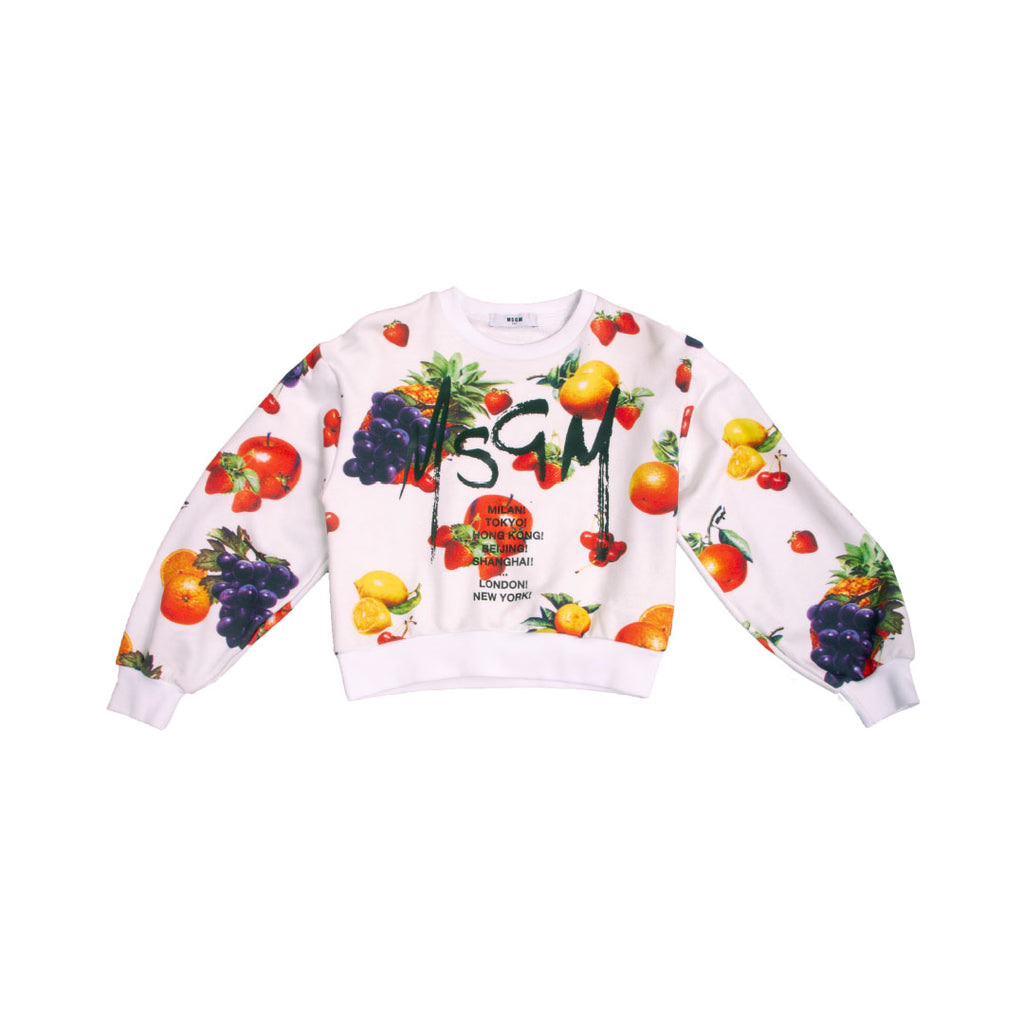 Loose cotton fruit print crew neck sweatshirt with fruit print