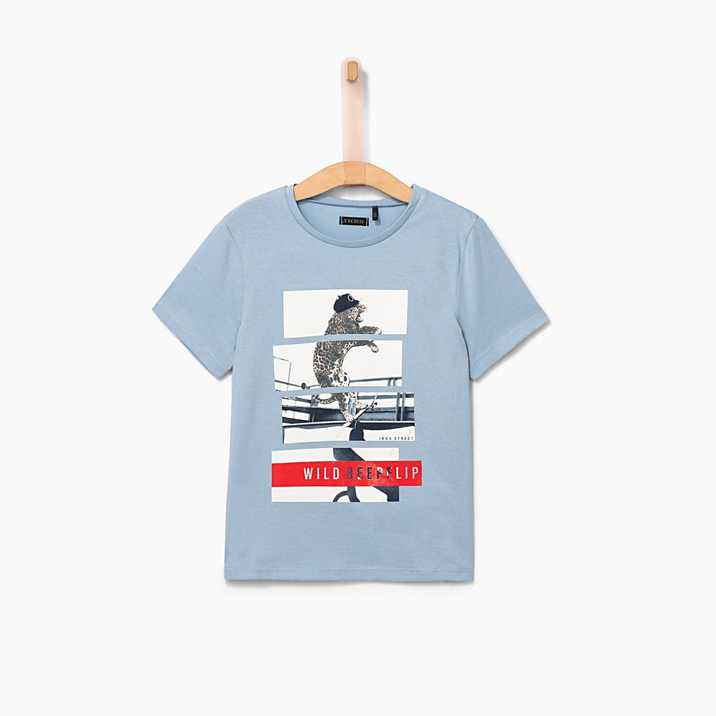 Boys' Sky Blue Leopard-Skateboarder T-shirt