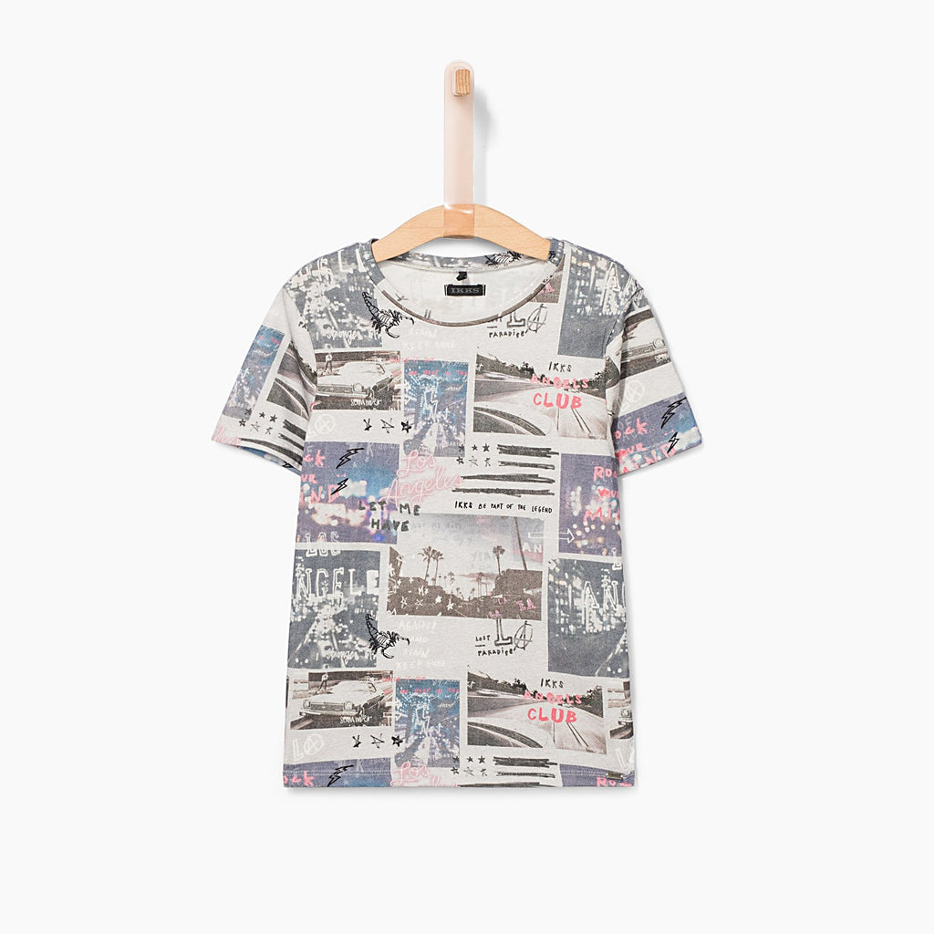 Boys' Grey Marl Photo Patchwork T-shirt