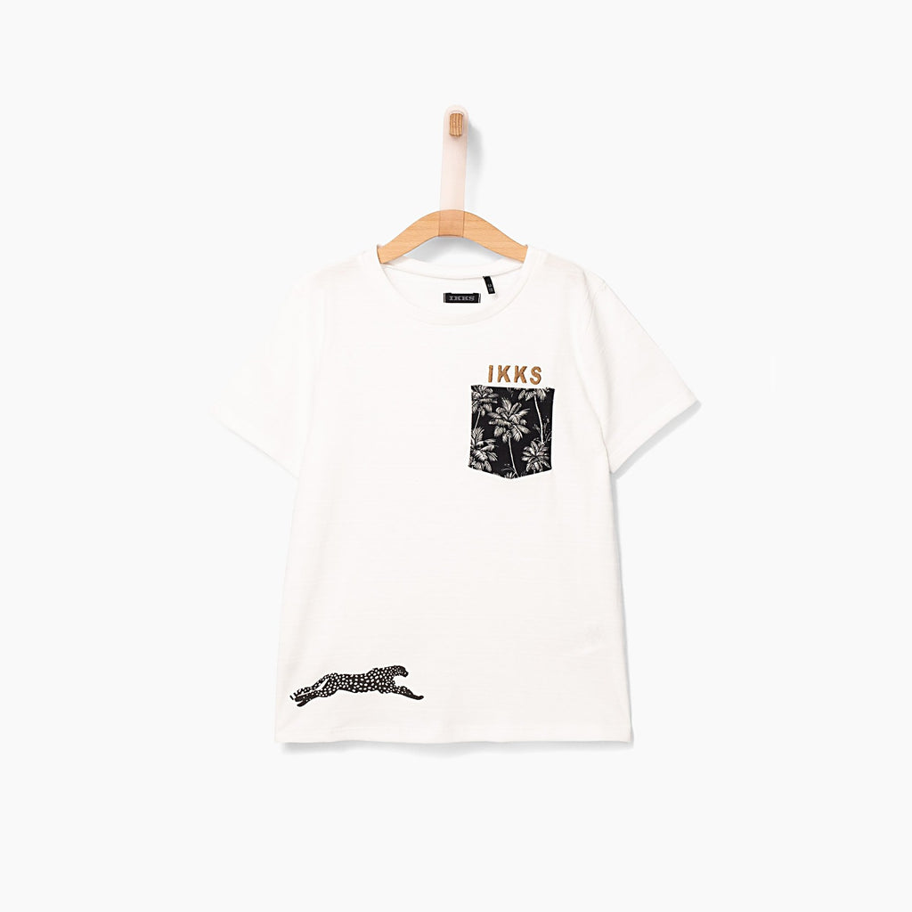 Boys' Off-White Printed Pocket T-shirt