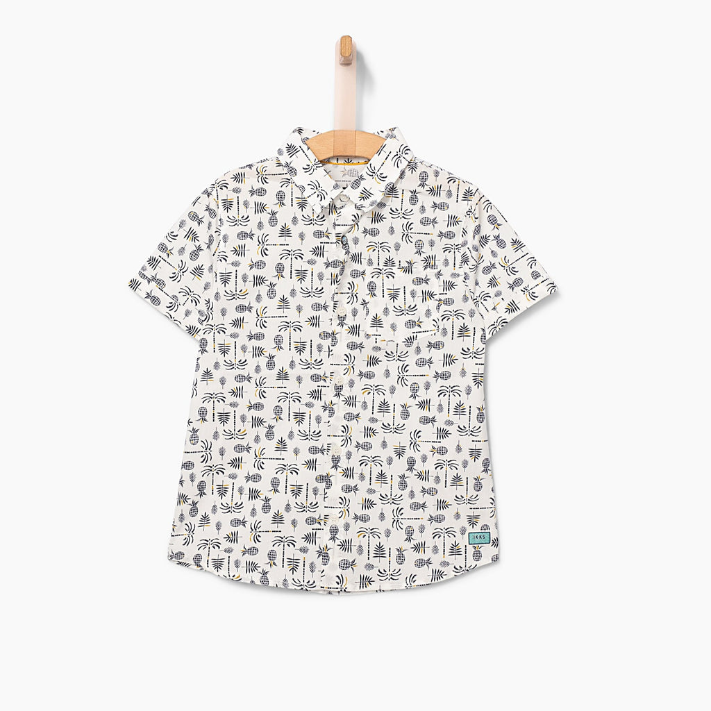 Boys' Black And White Tropical Shirt