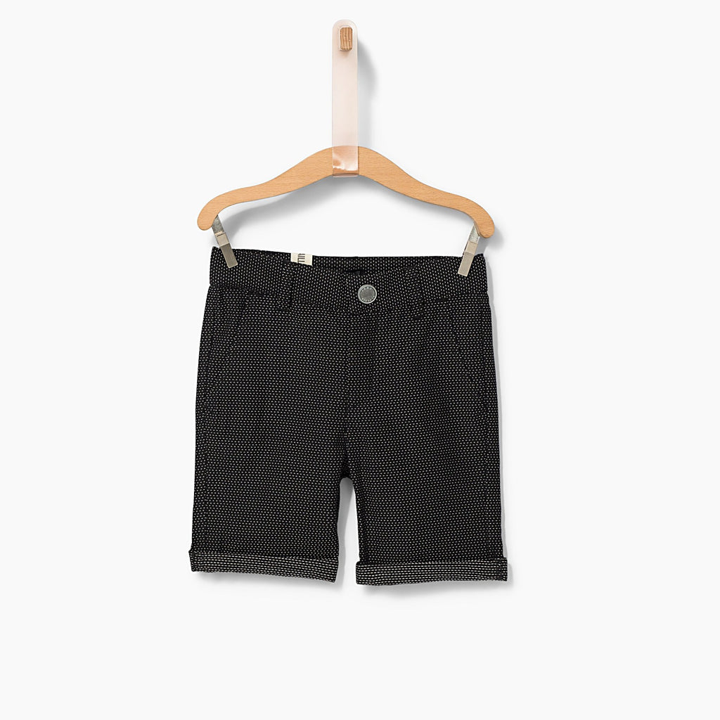 Boys' Black Dotted Jacquard Chino Bermudas