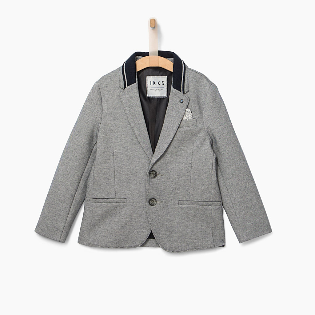 Boys' Navy Semi-Plain Suit Jacket