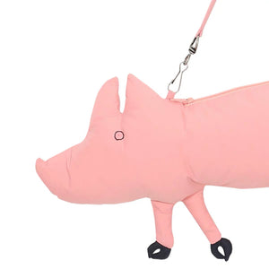 This is a handy cross shoulder pink piglet purse