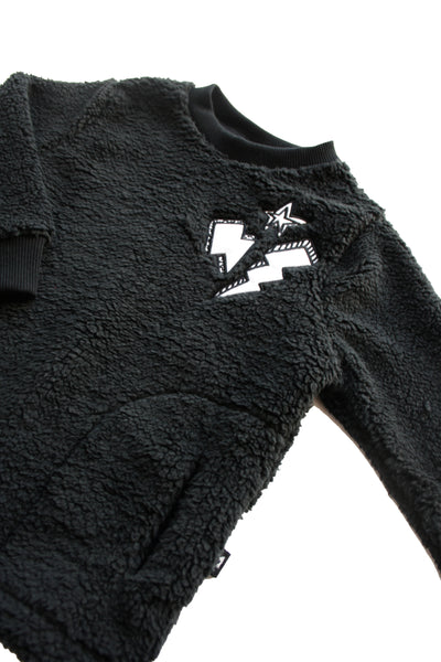 MINOU TEDDY SWEATER WITH THUNDER PATCHES
