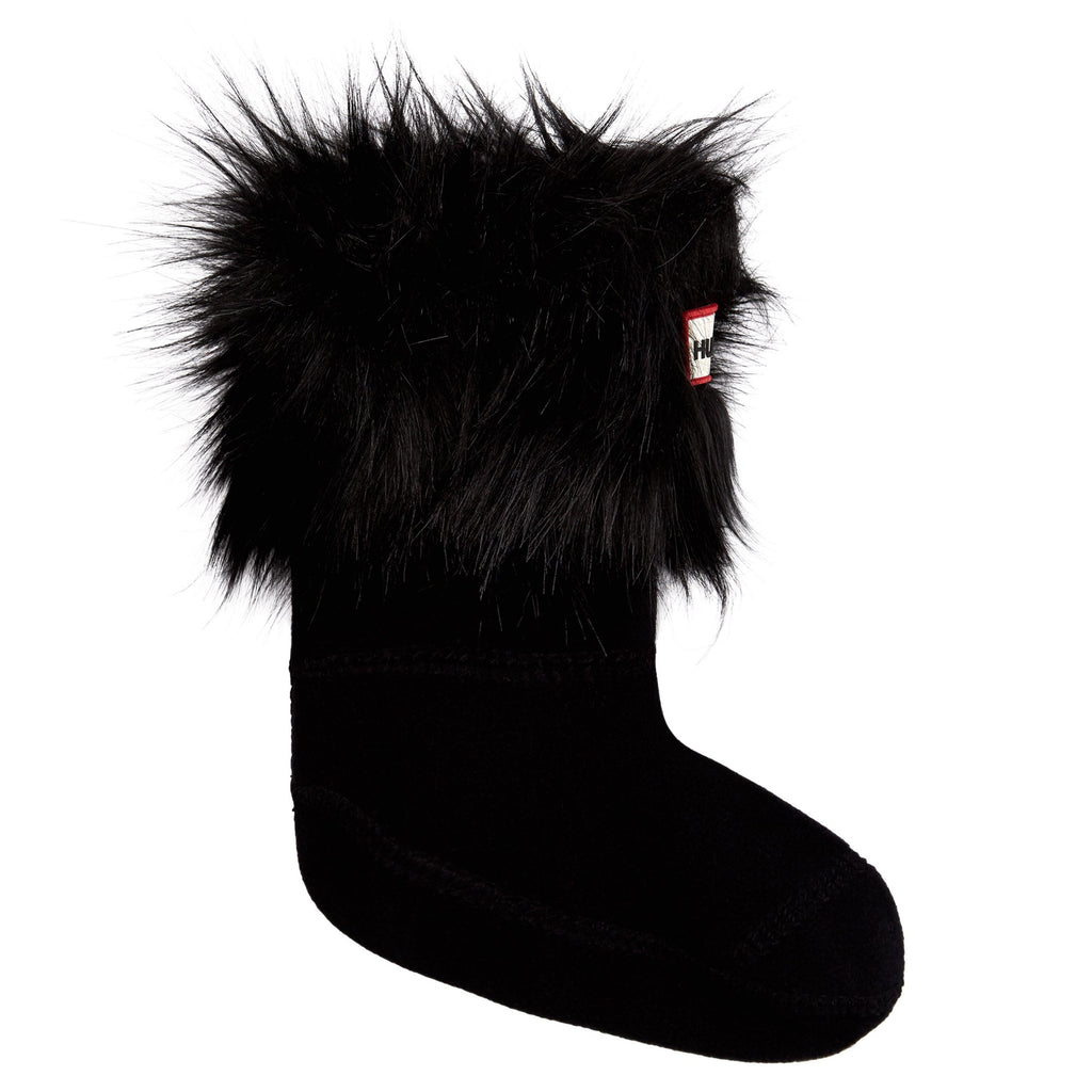 Kids Original Black Faux Fur Cuff Socks