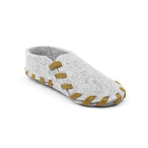 This indoor cozy shoes will keep your bare feet warm and stylish even at home! Hand craft style wool felted shoes put together with color twill lace.