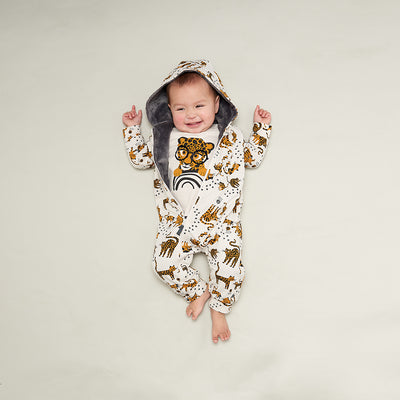 HODDED ONESIE WITH FAUX FUR LINING