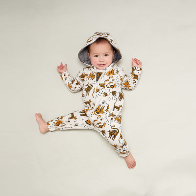 HOODED ONESIE WITH FAUX FUR LINING