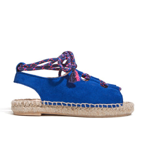 Side profile of Guava Bright Blue Suede made by Maison Mangostan