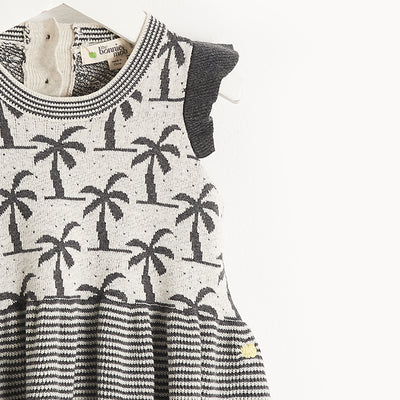 LIGHTWEIGHT KNIT PALM TREE JAQUARD DRESS