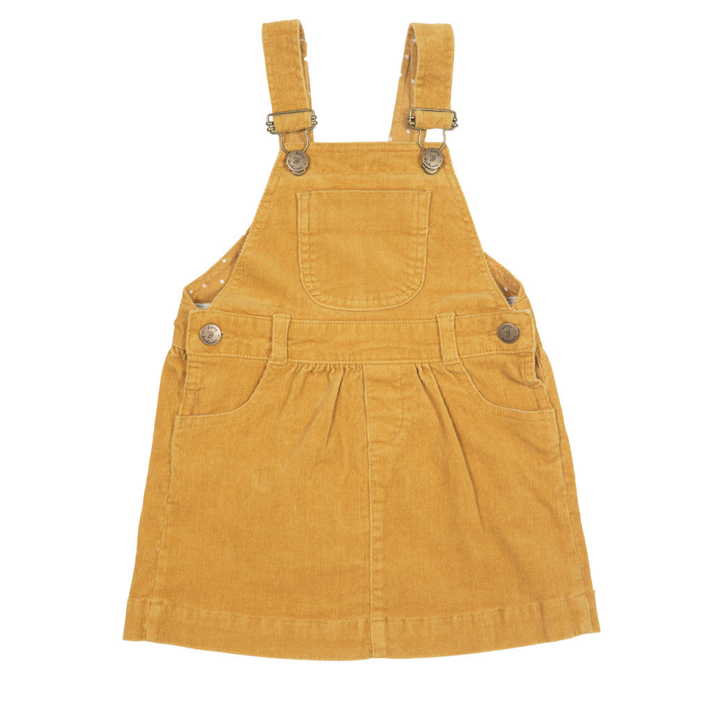 Ochre Yellow Corduroy dress by Dotty Dungarees