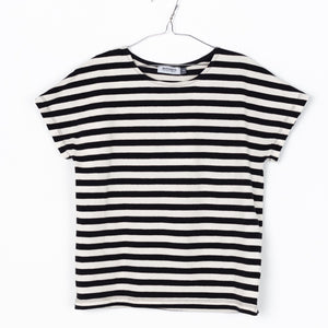 Black and White striped T-shirt designed by Motoreta