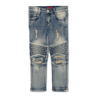 CLAYTON BIKER DENIM JEANS - SANDSTON