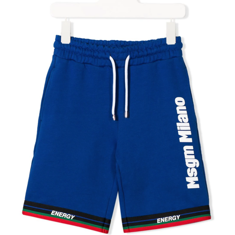 Blue Milano track shorts for kids and teens from MSGM Kids featuring an elasticated waistband with a drawstring fastening, side pockets and a short length.