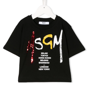 Sequin Logo Cropped Top T-Shirt