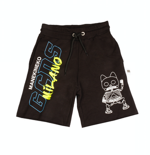 Black shorts with graphic design lucky cat. A designer clothing for kids piece, made by the Italian streetwear brand GCDS.