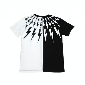 Black and white asymmetric two tone lightning cotton T-shirt from Neil Barett Kids featuring a round neck, short sleeves and a straight hem.