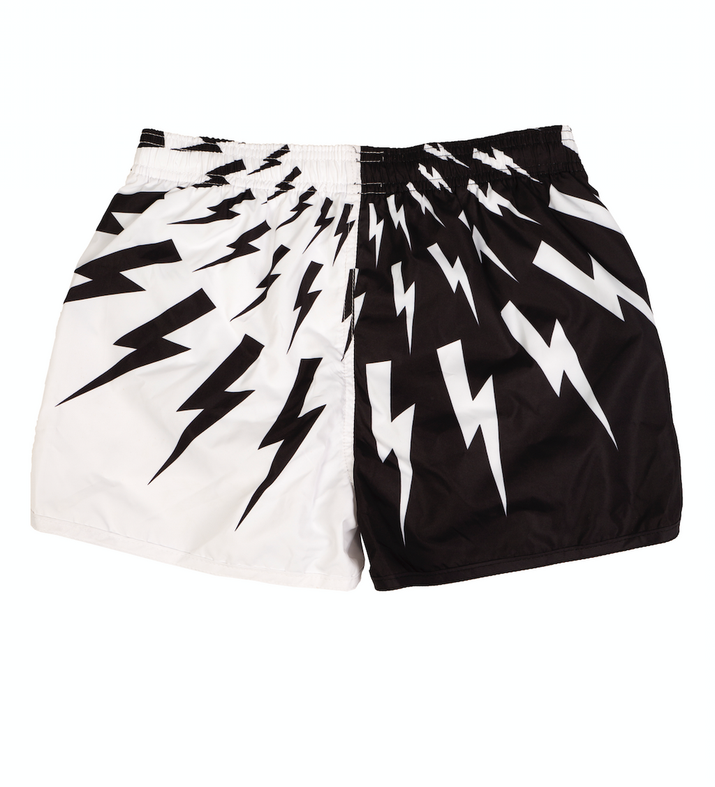 Black and White Thunderbolt Swim Shorts