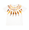 White and Orange Thunderbolt Print T-shirt