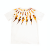 White cotton and orange thunderbolt print T-shirt from Neil Barrett Kids, featuring a round neck, short sleeves and a straight hem.