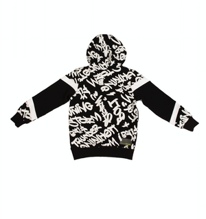 Black and White Graphic-print Hoodie