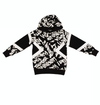 Black and white graphic-print cotton hoodie for boys from Neil Barrett Kids, featuring a geometric print, long sleeves, a ribbed hem and cuffs and a straight hem.