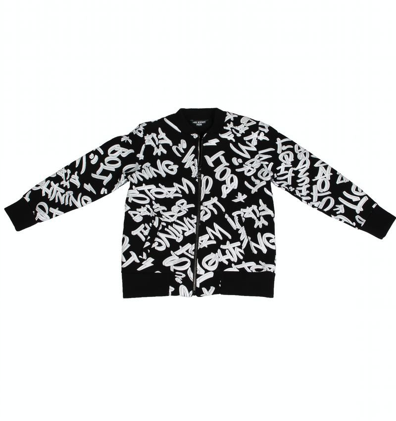 Black letter print cotton jacket from Neil Barrett Kids featuring a band collar, a front zip fastening, side pockets and long sleeves.
