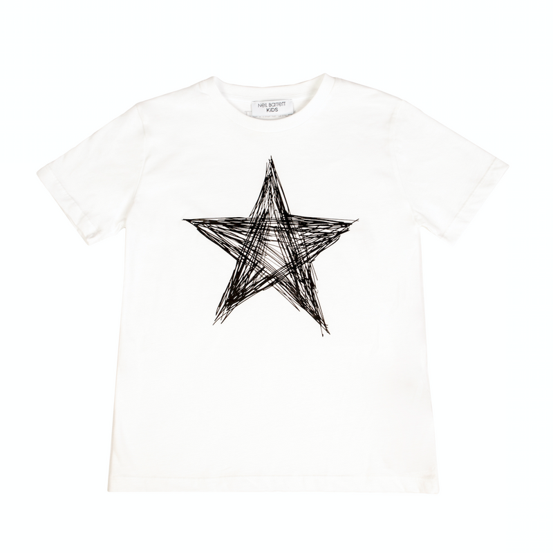 White cotton doodle style star print T-shirt from Neil Barrett Kids featuring a round neck, short sleeves and a straight hem.