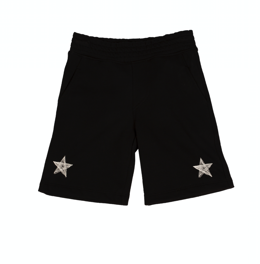Black Star Print Jersey Shorts