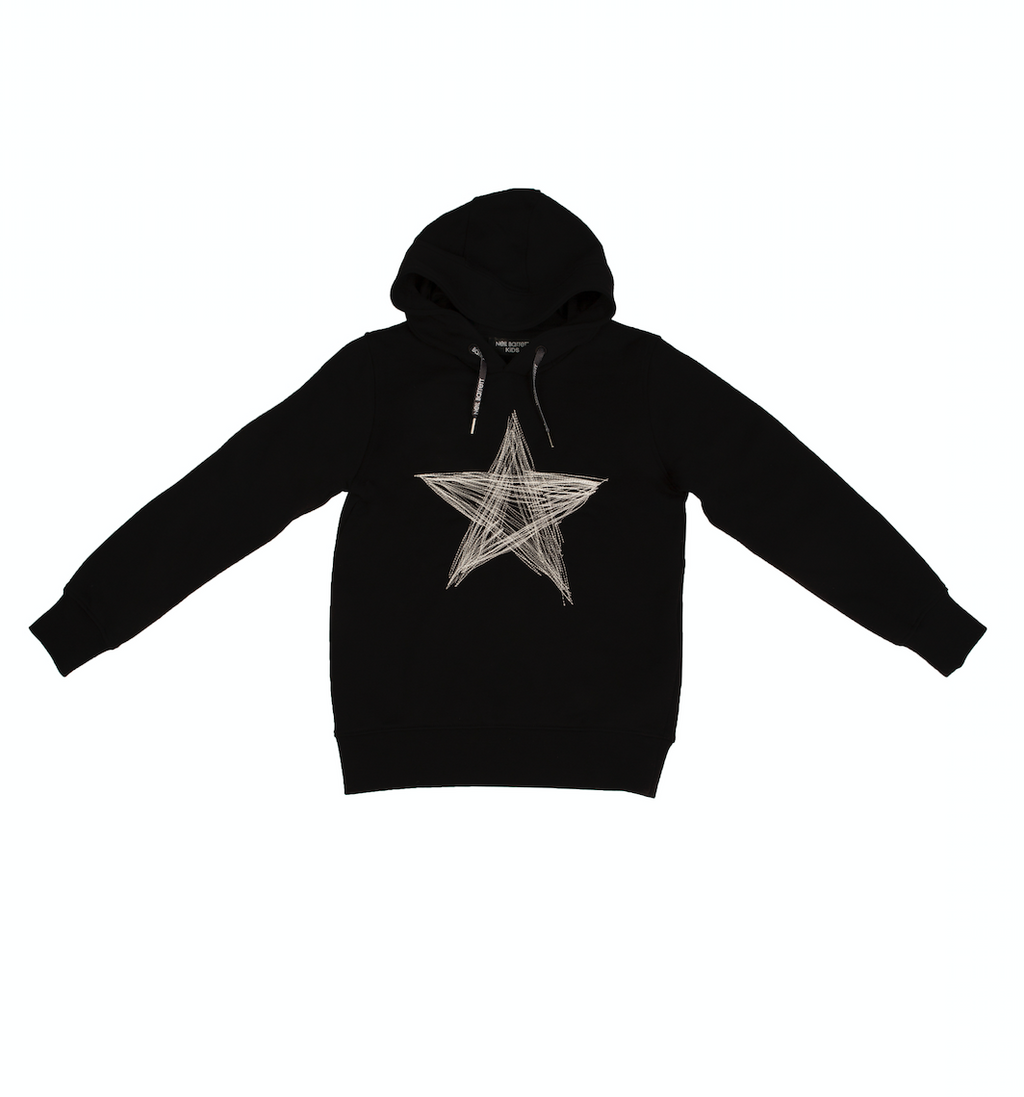 Black star print hoodie from kids fashion line Neil Barrett Kids, featuring a hood, long sleeves and printed star on the front.