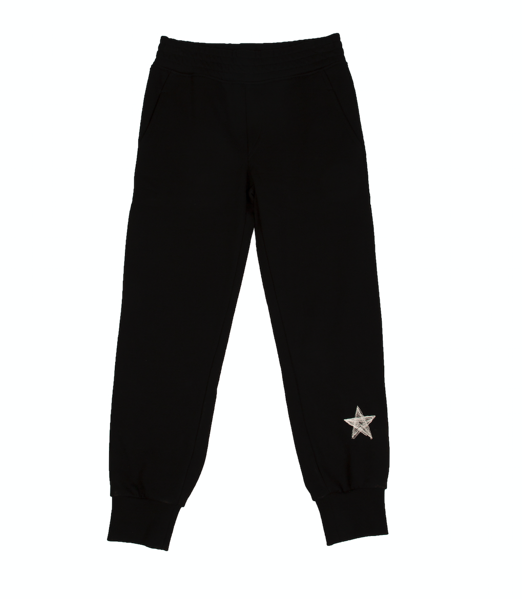 Black cotton teen star print track pants from Neil Barret Kids, featuring an elasticated waistband, elasticated cuffs, logo to the back and star at the ankle.