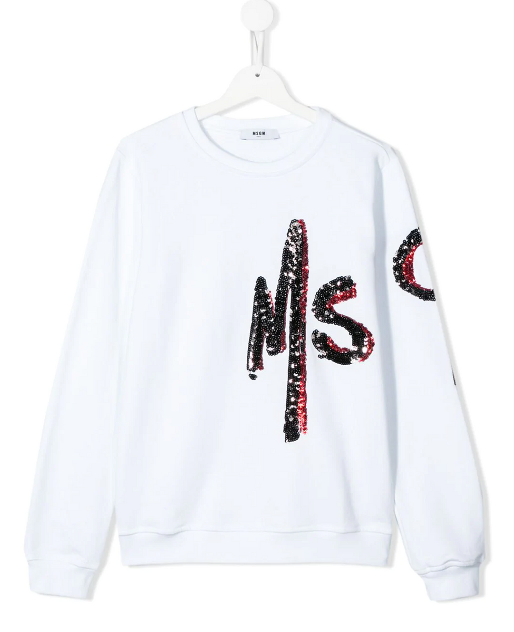 MSGM kids sweatshirt made of comfortable cotton jersey fabric. The forearm and lower arm have flashing black and red MSGM sequined logos.