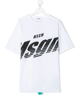 White cotton logo print T-shirt from MSGM Kids featuring a round neck, short sleeves and a straight hem. Stylish MSGM logo tape down the center back.