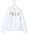 White cotton sequin logo jumper with an urban style embroidered logo for both kids and teens.  Featuring a round neck, long sleeves, a ribbed hem and cuffs and a central embroidered design.