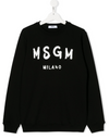 Black kids jumper with logo print from MSGM Kids featuring a round neck, long sleeves, a ribbed hem and cuffs and a central printed logo.