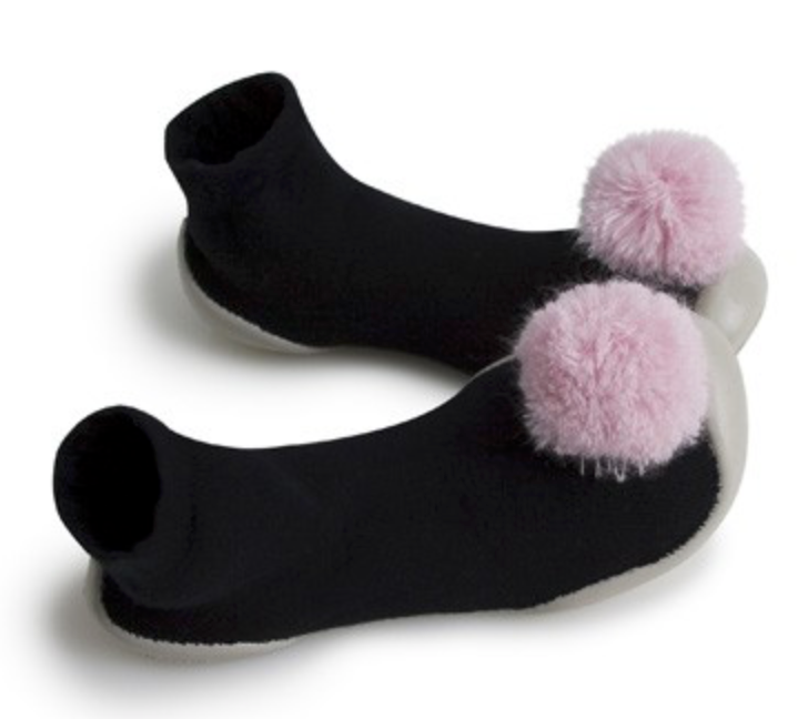 Black With Pink Pompom Sock Slippers