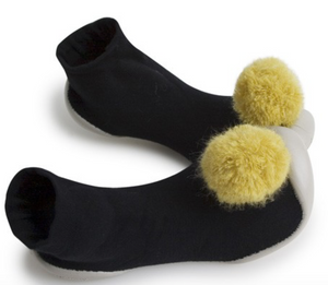 Black With Yellow Pompom Sock Slippers