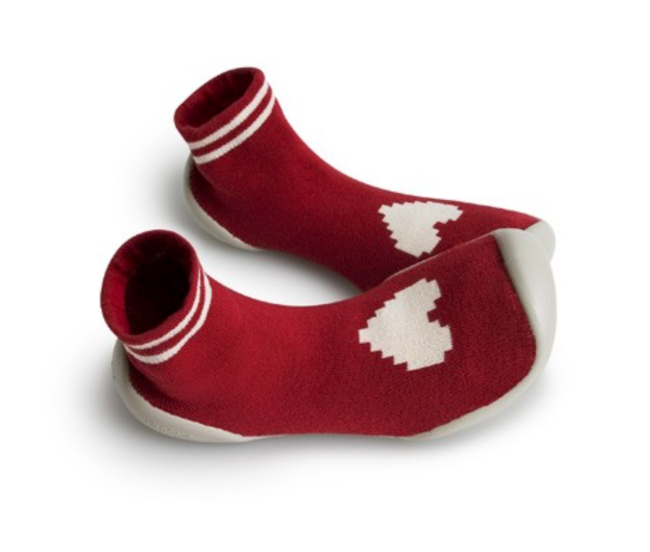 Red With White Heart Sock Slippers