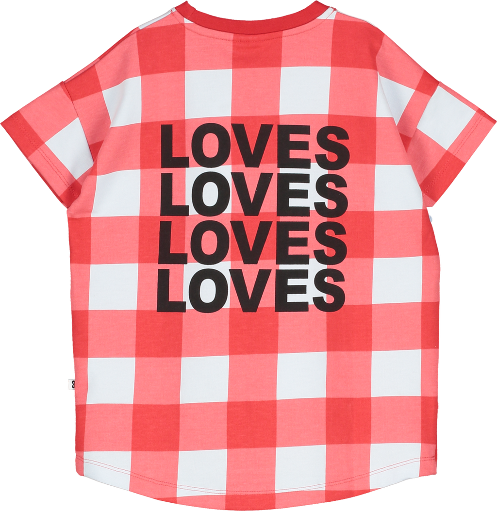 White base with a Gingham all-over print in red. 'You are loved' at the front in black lettering. 'LOVES' text and logo mask embroidery at the back.  All Beau Loves clothes are gender-neutral and designed to be mixed and matched.