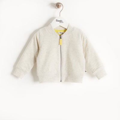 EMBROIDERED LIGHTWEIGHT TERRY BOMBER CARDIGAN