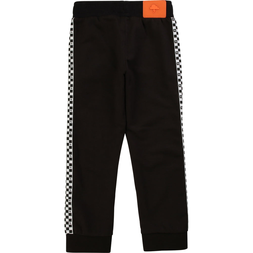 Stylish French terry trousers with side fancy checkered tapes, piped pockets, and elasticated waist with drawstring.