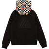 French terry jacket with a fun checked pattern printed hood and distinctive embroidered logo on the chest.