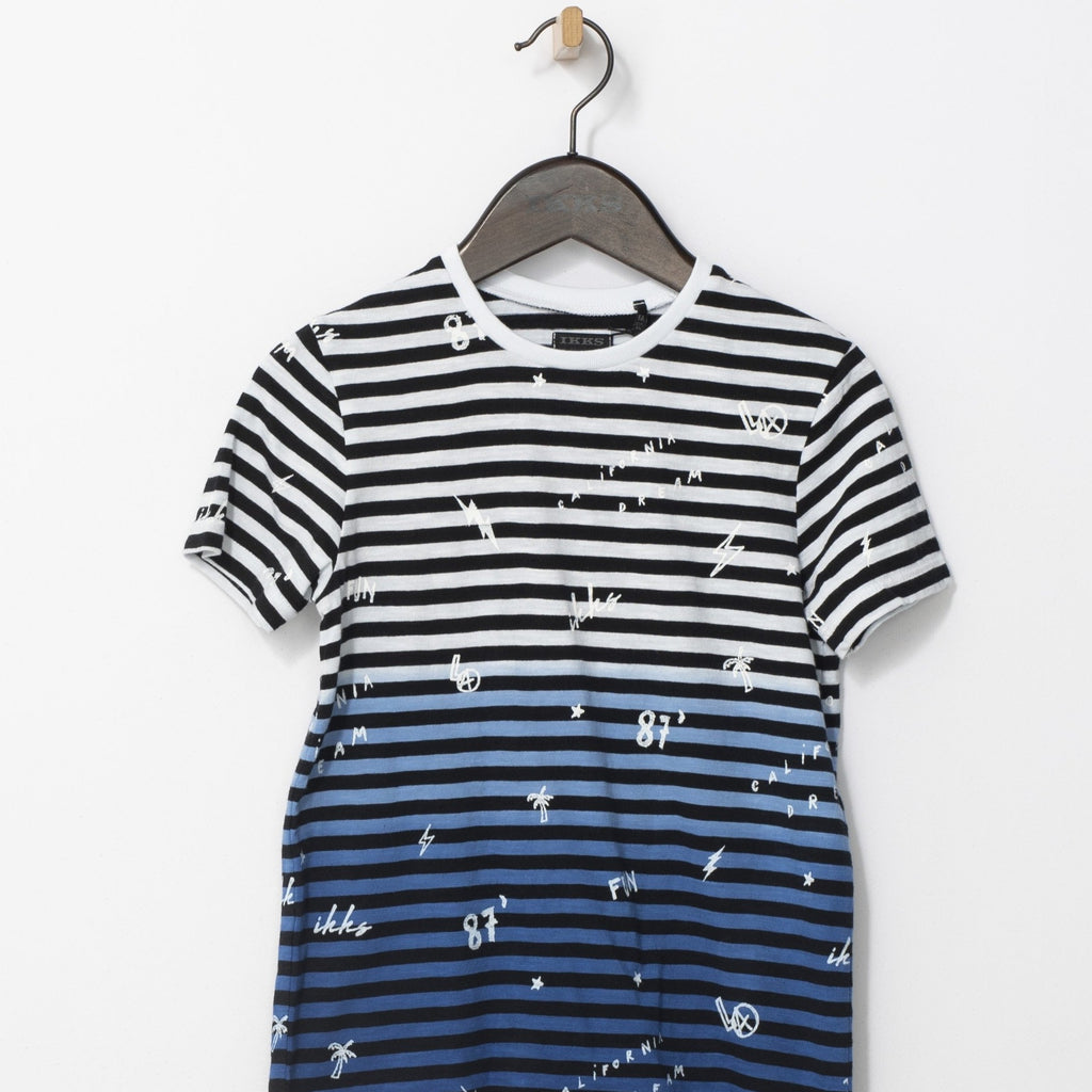 Boys' Optic White Striped And Printed T-shirt