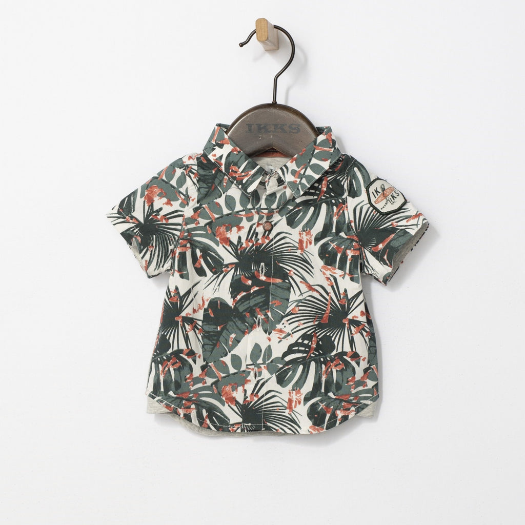 Baby Boy's Dark Green Tropical Camouflage Shirt