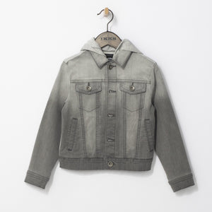 Not just any denim jacket, this one comes with a hood, grey gradient, and type write letters at the back to make it a one of a kind piece essential from Spring to Fall.