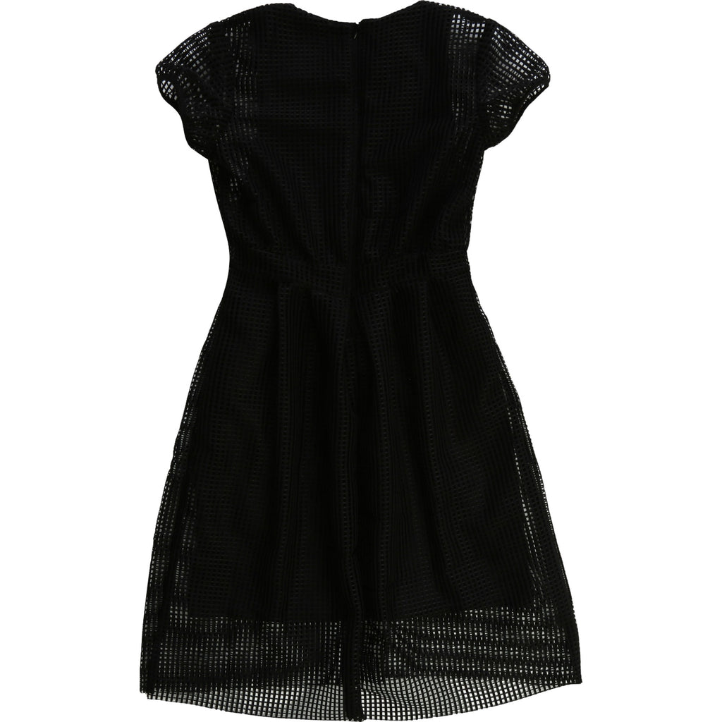 Girls Black Mesh & Jersey Dress