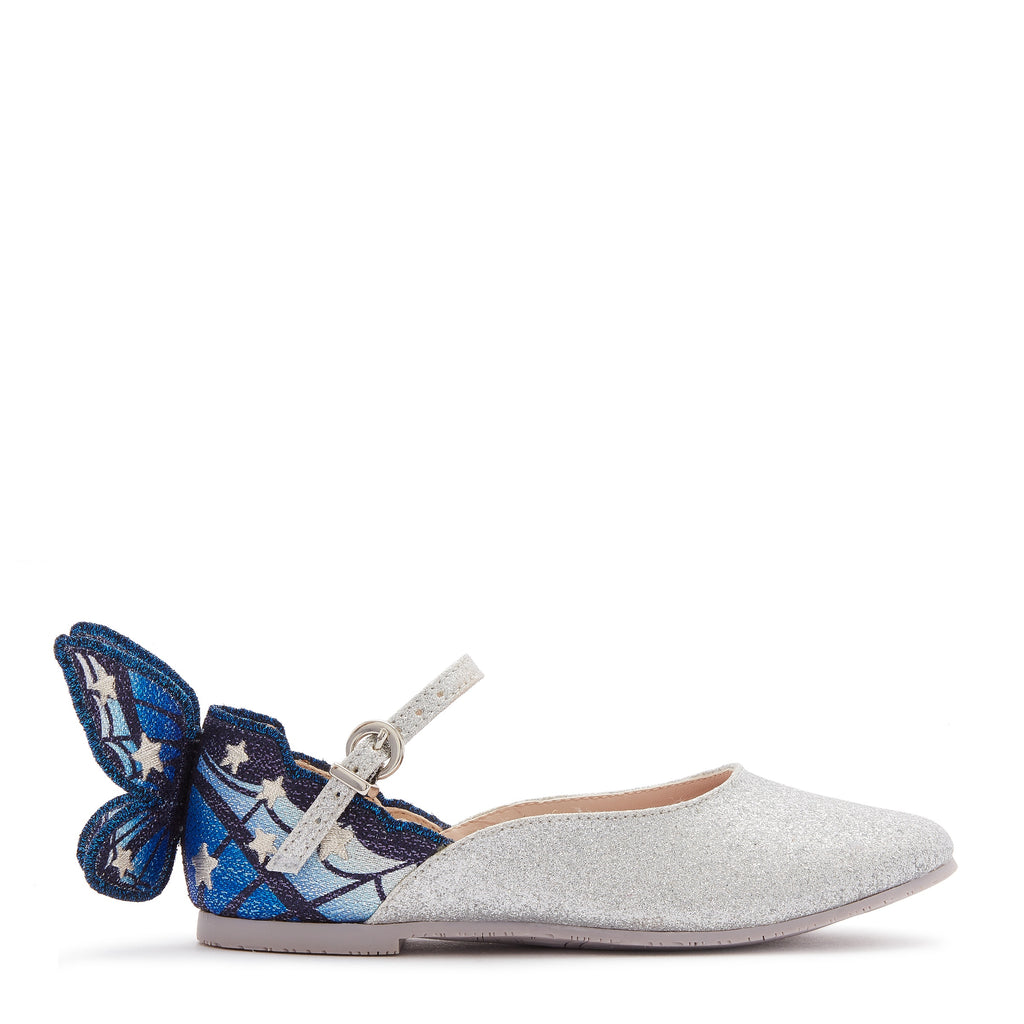 Chiara Embroidered Butterfly Shoes Silver/Blue